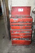 Waterloo Tool Box on Casters w/ Contents: Misc. Hand Tools, Sockets, Wrenches, Plyers, Etc.