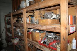 Contents of (1) Row of Shelving: Various Parts and Accessories, Hose Clamps, Gaskets, Nails,