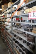 Contents of (6) Sections of Shelving- Various Sized Sprockets, Offset Links, Chain Links, Master