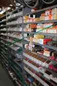 Contents of (5) Sections of Shelving- Various Sized Motor Hubs, Sleeve Yolks, Cord Seals, O-Rings,