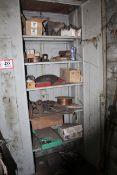 2 Door Storage Cabinet & Storage Contents- Welding Wire, Abrasive Discs, Regulators, Electric Motor,