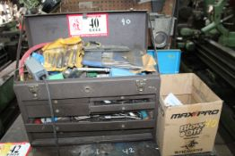 Tool Box & Contents of Table: Various Reamers, End Mill Cutters, Gauges, Etc.