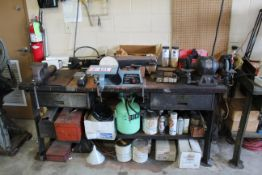 "Table & Contents: Combo 4"" Belt, 6"" Disc Sander, Bench Grinder, Table has 6"" Jaw Vise, Various"