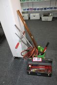 Toolbox w/ Misc. Hand Tools - Screw Drivers, Pliers, Wrenches, Hack Saws, Etc.