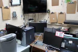 Dell CPU (4) Monitors, Keyboard, Flatbed Scanner, HP Laserjet Printer