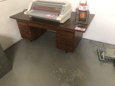 Double Pedestal Wooden Desk, Wooden Table, 2 Door Metal File Cabinet