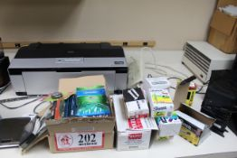 Contents of Countertop: Epson Stylist Photo Printer, Coffee Grinder, Keurig Coffee Maker, Sharpies