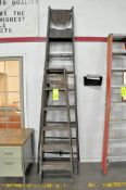 Lot-(1) 8' Wood Step Ladder and (2) 6' Wood Step Ladders