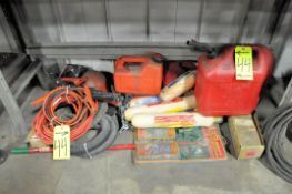 Lot-Fuel Cans, Jumper Cables, Vacuum Hose, Paint Rollers, etc.