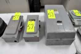 Lot-(2) Enclosed Safety Switch Boxes and (1) Starter Box