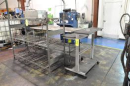 Lot-(2) Sections Wire Shelving, (1) Stainless Steel Portable Work Table and (1) Office Desk