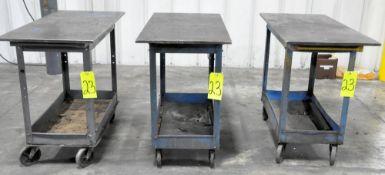 "Lot-(3) Steel Top Shop Carts, 20"" x 40 1/2"" x 5/8"" Thick Top, (Plant 2)"