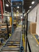 90' POWERED ROLLER CONVEYOR, WITH BELTED RAMPS, 90 DEGREE CORNER, LOCATION, PEMBROKE, ONTARIO
