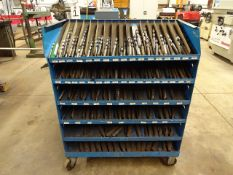 LOT ASSORTED DRILLS IN PORTABLE STORAGE RACK
