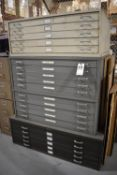 LOT STACK OF (4) FLAT FILE CABINETS