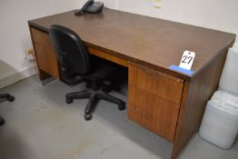 DESK AND (3) CHAIRS (NO CONTENTS)