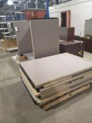 LOT OF OFFICE PARTITIONS, DESKS AND CABINETS