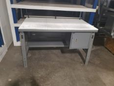 """METAL SHOP DESK WITH CUTTING BOARD TOP 5' X 36"""""""
