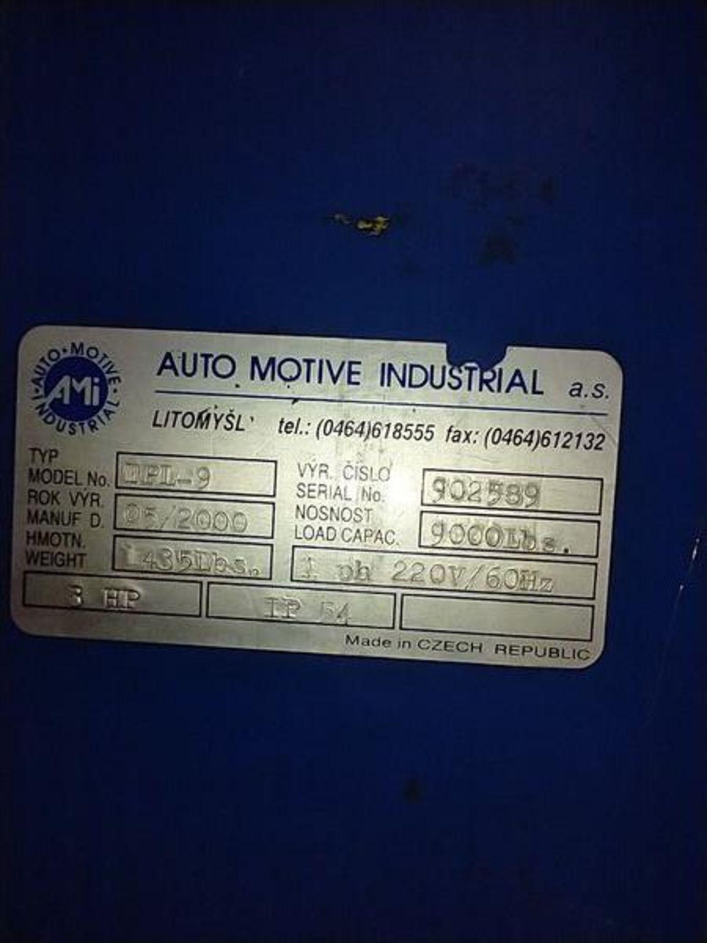 AUTO MOTIVE 2 POINT LIFT - MODEL TPL-9 , 3HP , 9000LB CAP - Image 6 of 7