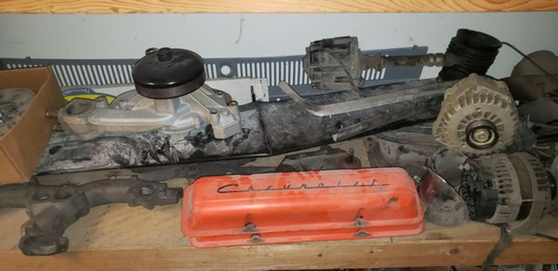 LOT OF ASSORTED CAR PARTS ON 3 SHELVES AND FLOOR - Image 8 of 12