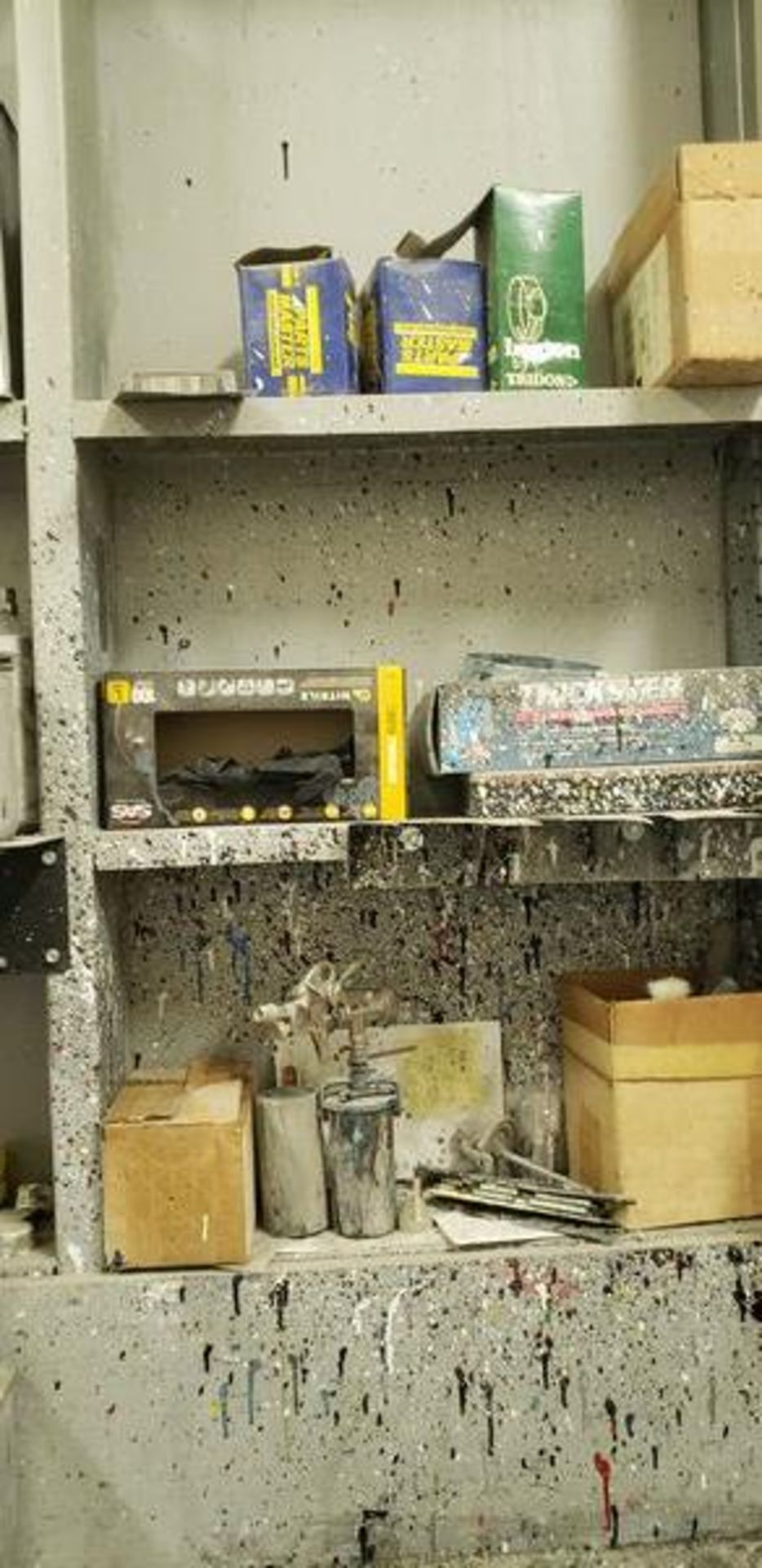 LOT OF PAINTING ITEMS ON LEFT TABLE, TOP AND BACK SHELF (TAGGED SPRAY GUNS AND OTHER TAGGED ITEMS AR - Image 8 of 12