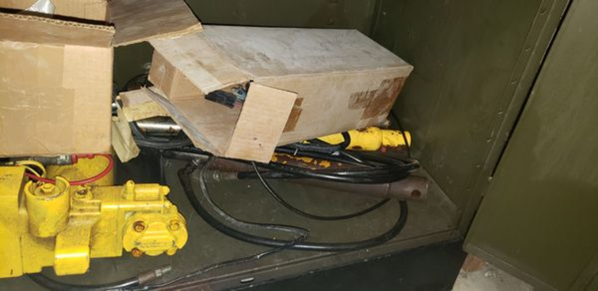 LOT OF S-10 AND PLOW PARTS WITH 2 DOOR METAL STORAGE CABINENT - Image 16 of 16