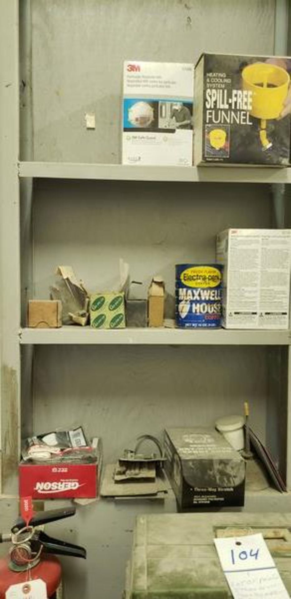 LOT OF PAINTING ITEMS ON LEFT TABLE, TOP AND BACK SHELF (TAGGED SPRAY GUNS AND OTHER TAGGED ITEMS AR - Image 2 of 12
