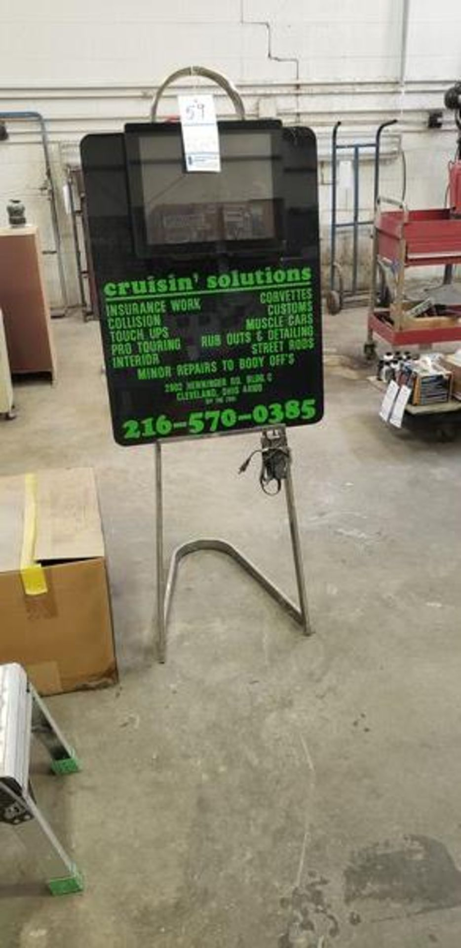 ELECTRONIC BUSINESS SIGN WITH REMOTE - The green letters are stickers