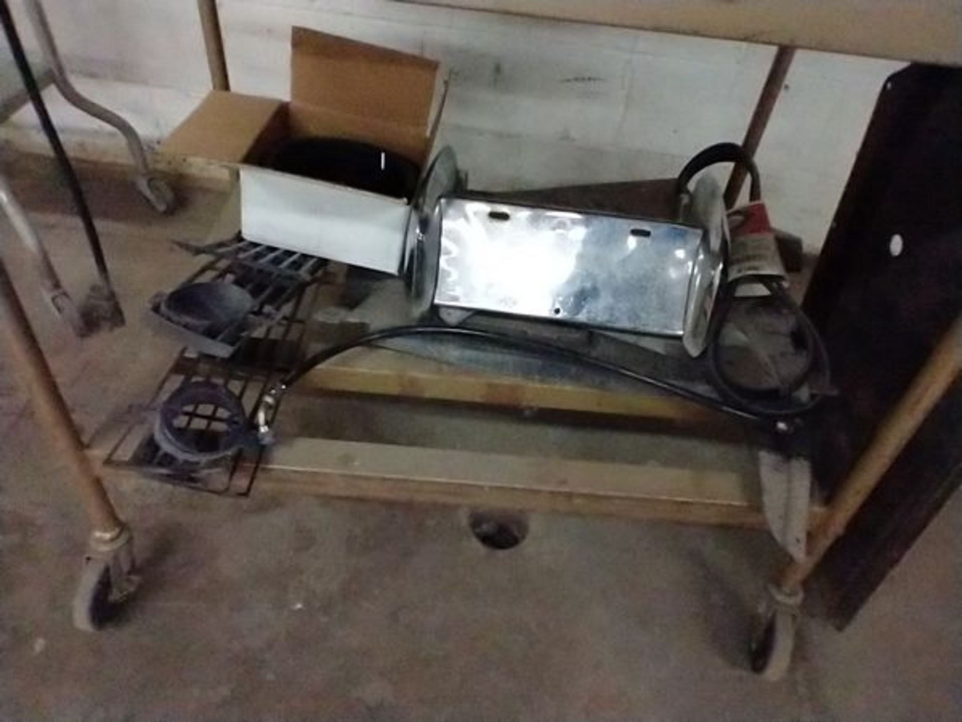 LOT OF VINTAGE CAR PARTS ON CART - Image 12 of 12