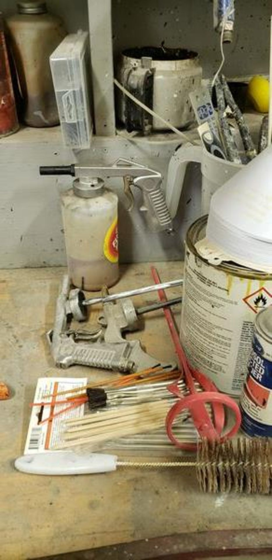 LOT OF PAINTING ITEMS ON LEFT TABLE, TOP AND BACK SHELF (TAGGED SPRAY GUNS AND OTHER TAGGED ITEMS AR - Image 5 of 12