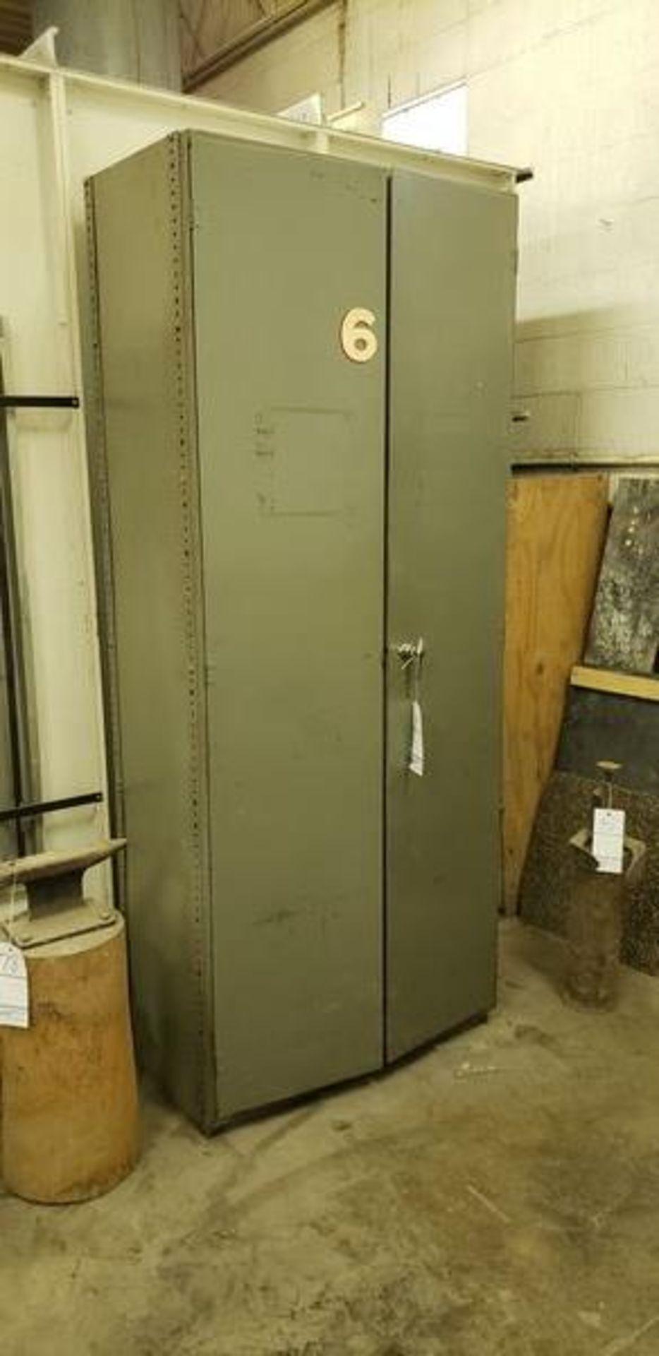 """METAL 2 DOOR STORAGE CABINET 3' X 19"""" X 87"""""""