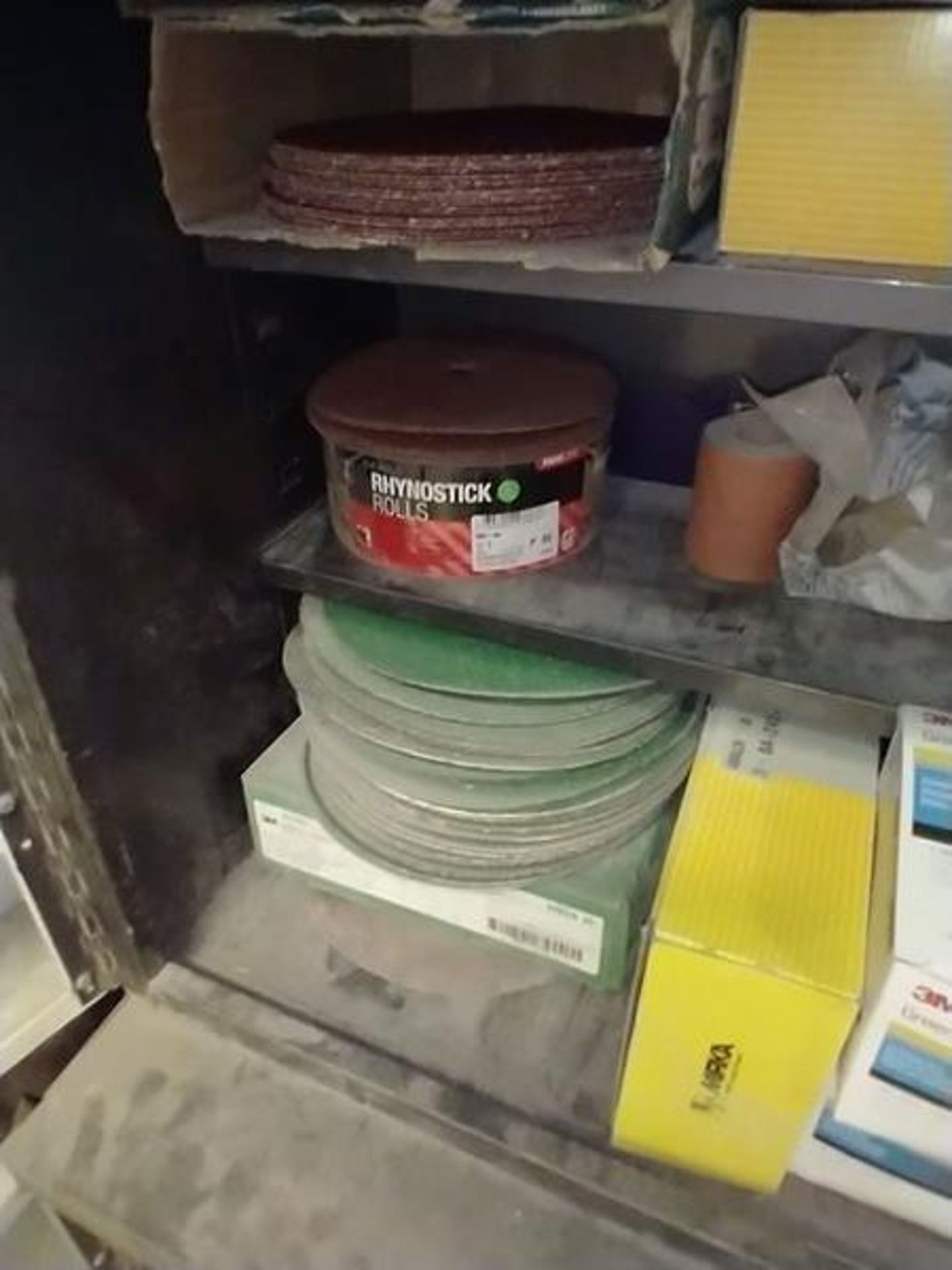 LOT OF ABRASIVE SHEETS, DISCS AND SANDING BLOCKS ON AND INSIDE CABINET (CABINET SOLD SEPARATELY) - Image 3 of 7