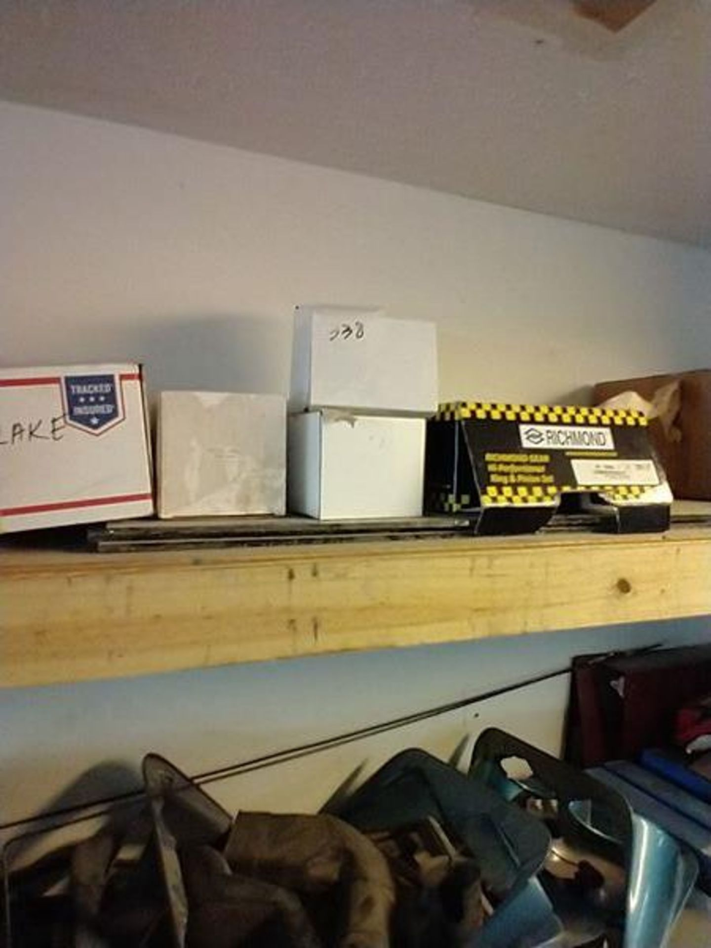 LOT OF ASSORTED CAR PARTS ON 2 SHELVES AND FLOOR - Image 9 of 23