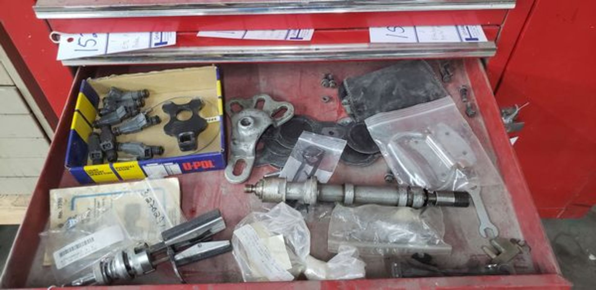 LOT OF MISC TOOLS AND PARTS IN DRAWER