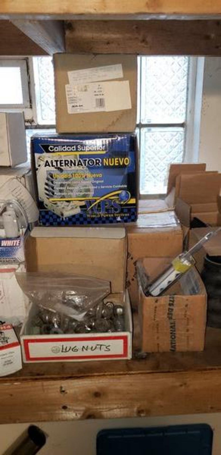LOT OF ASSORTED CAR PARTS ON 2 SHELVES - Image 5 of 11