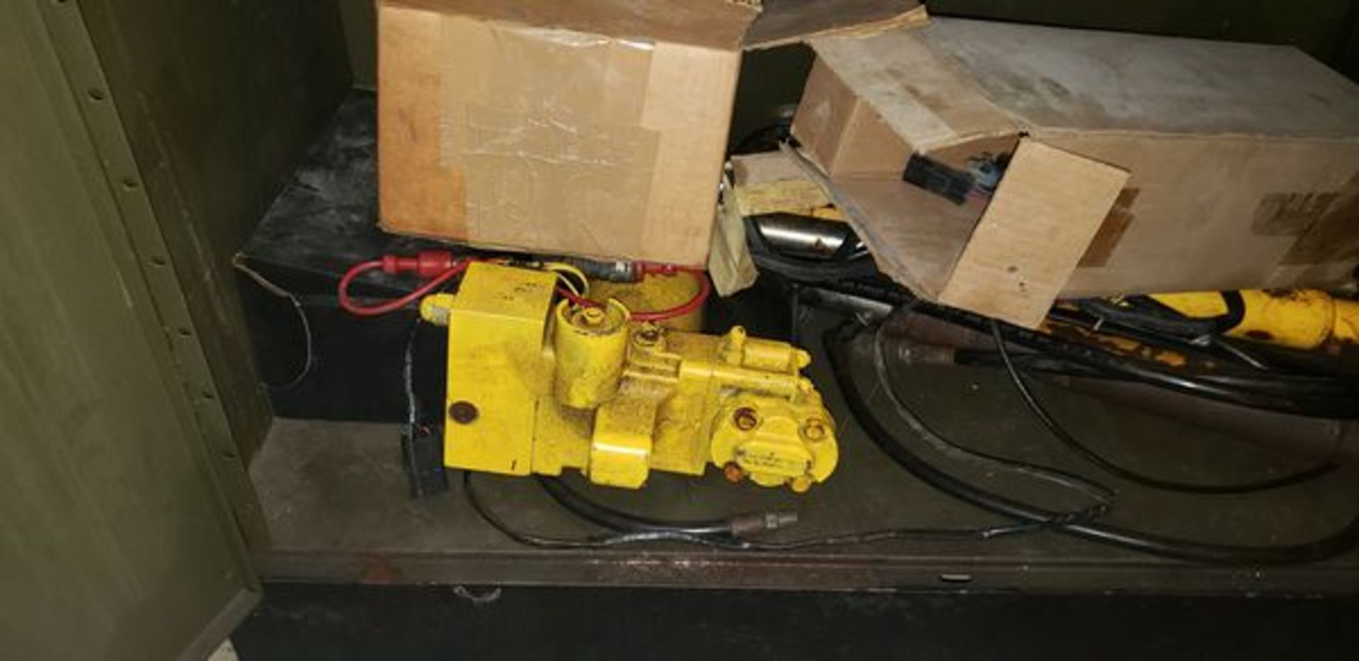 LOT OF S-10 AND PLOW PARTS WITH 2 DOOR METAL STORAGE CABINENT - Image 15 of 16