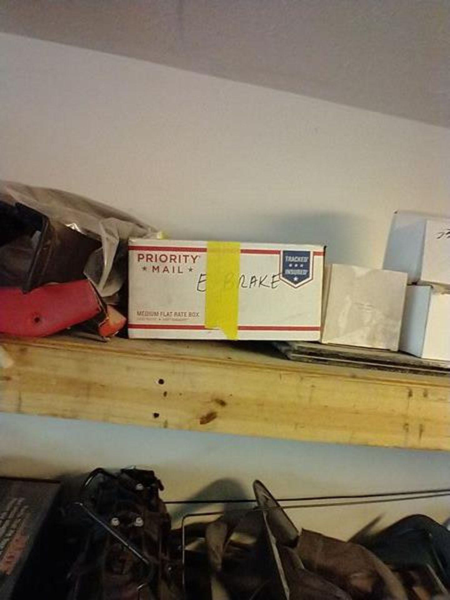 LOT OF ASSORTED CAR PARTS ON 2 SHELVES AND FLOOR - Image 8 of 23