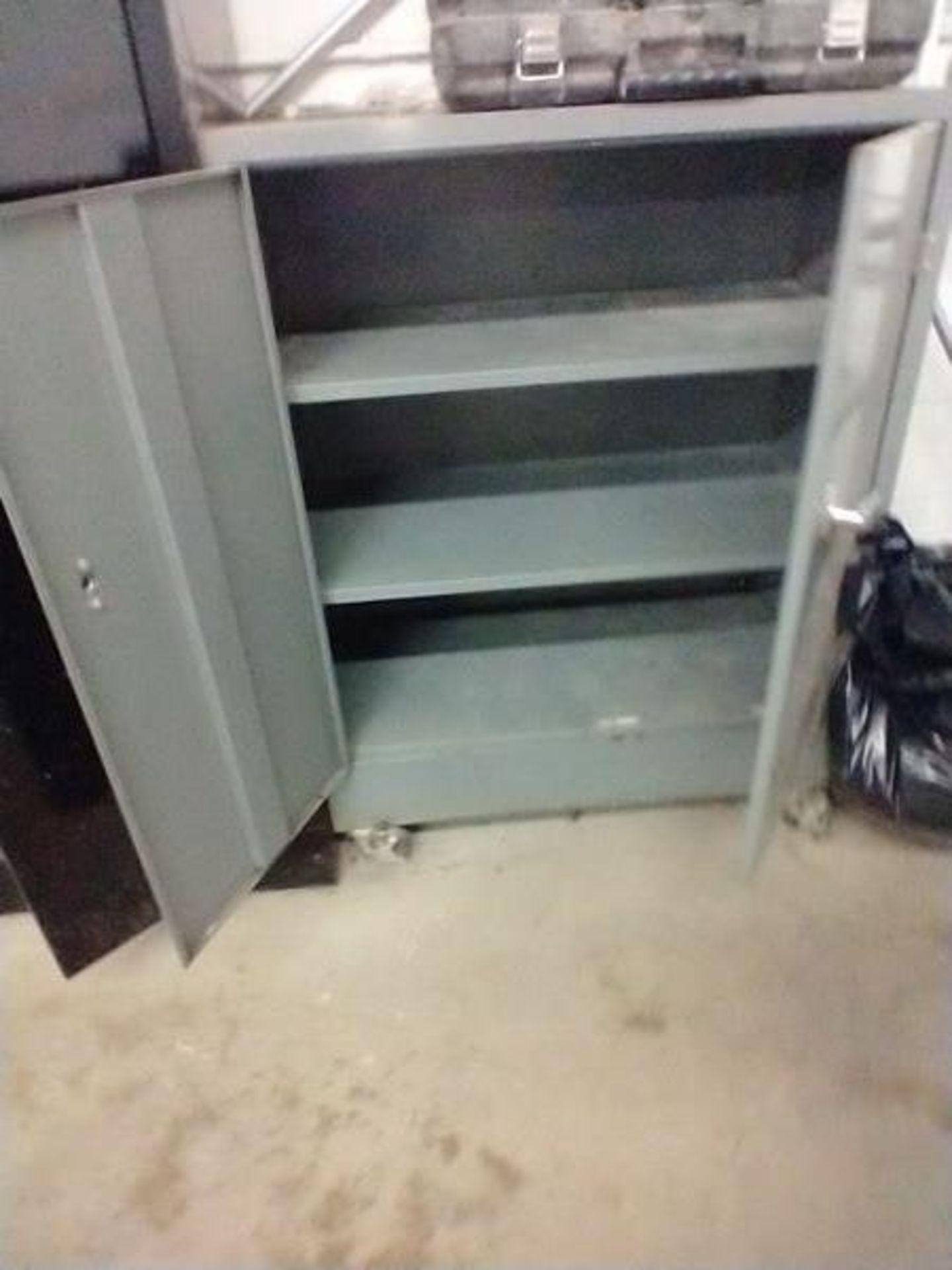 METAL 2 DOOR STORAGE CABINET ON CASTERS - Image 2 of 2