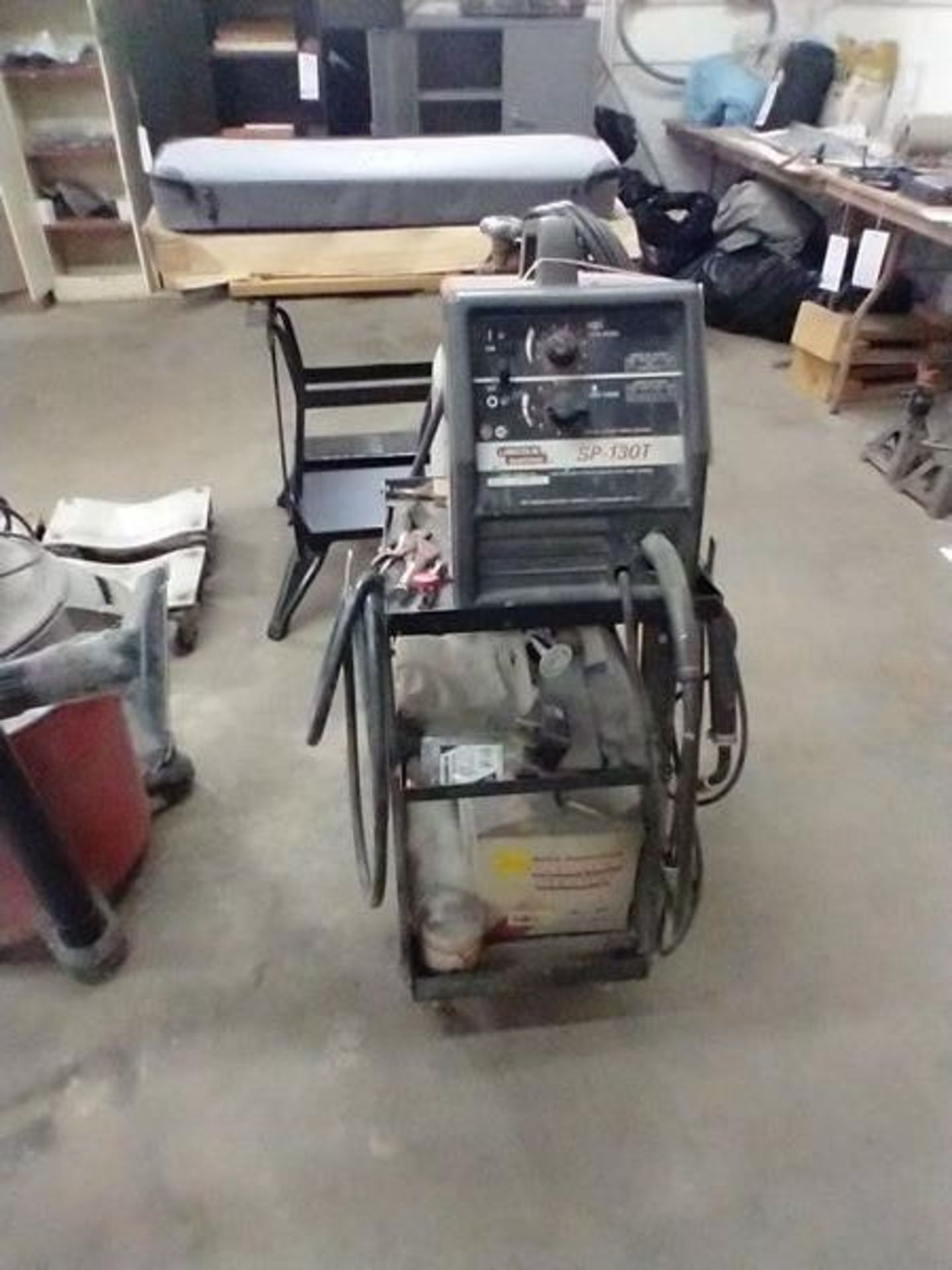 LINCOLN ARC WELDER SP-130T WITH CART AND CONTENTS - Image 2 of 5