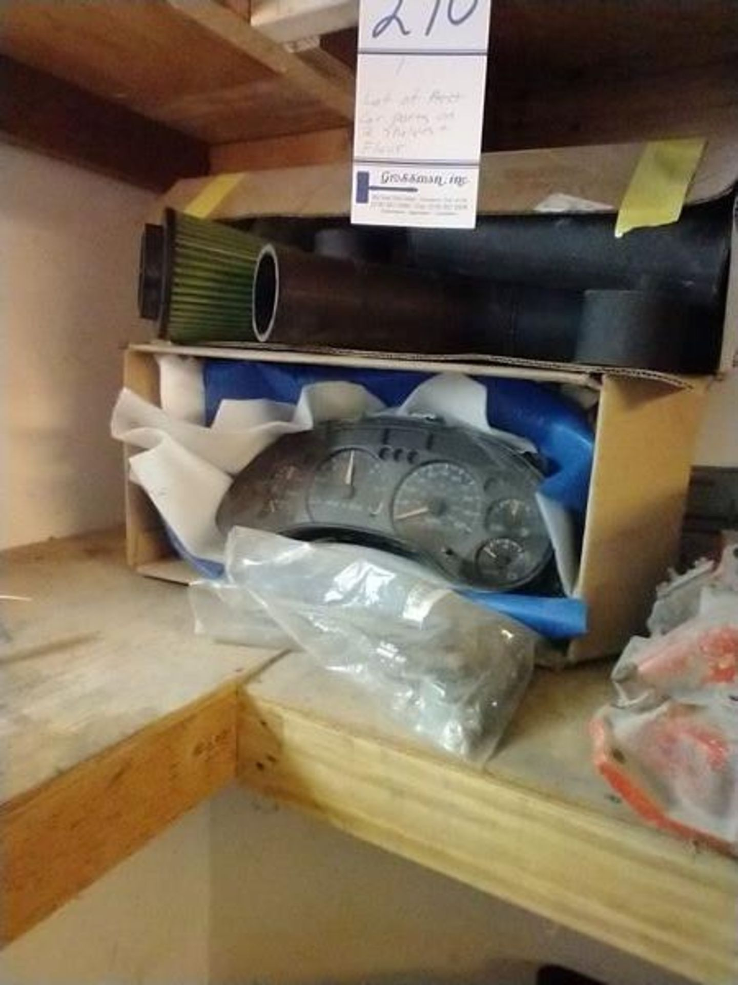 LOT OF ASSORTED CAR PARTS ON 2 SHELVES AND FLOOR - Image 3 of 23