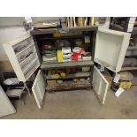 LOT OF ABRASIVE SHEETS, DISCS AND SANDING BLOCKS ON AND INSIDE CABINET (CABINET SOLD SEPARATELY)
