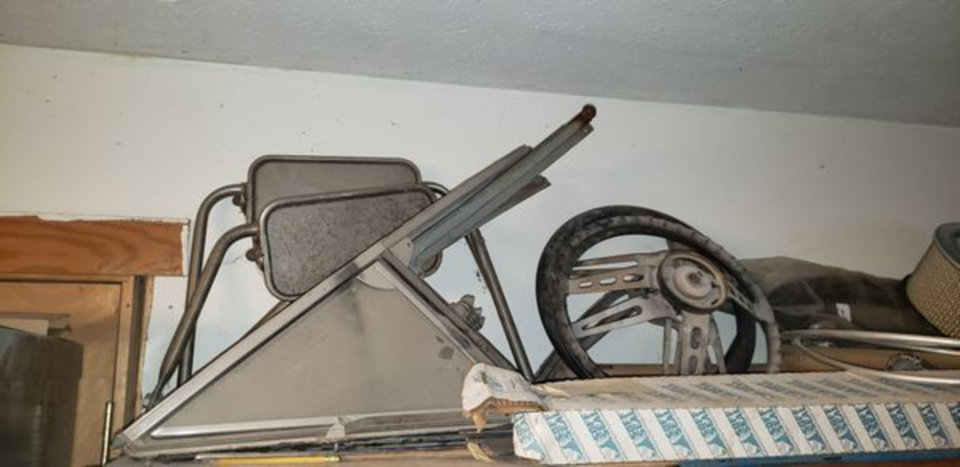 LOT OF ASSORTED CAR PARTS ON 3 SHELVES AND FLOOR - Image 2 of 12
