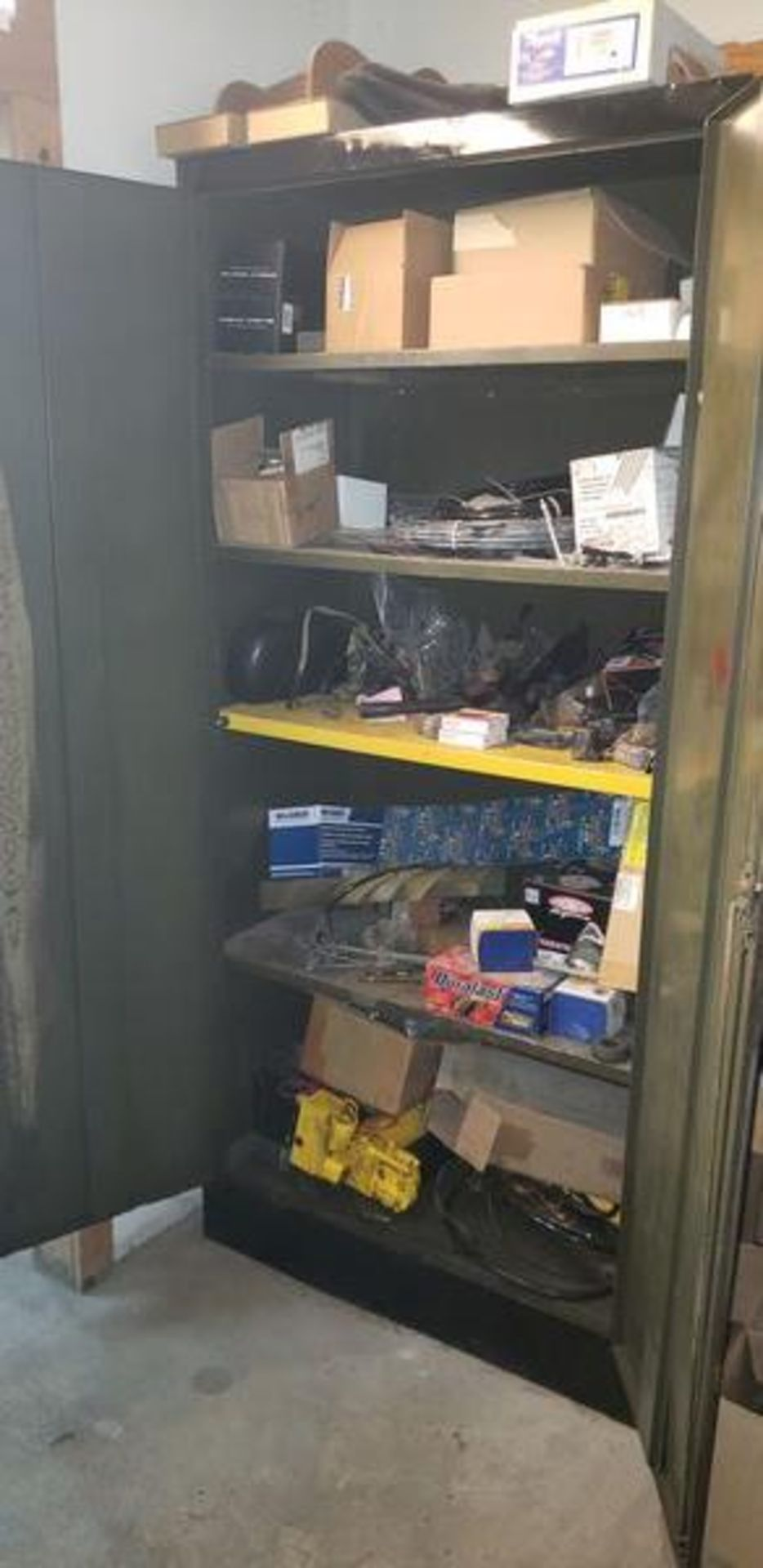 LOT OF S-10 AND PLOW PARTS WITH 2 DOOR METAL STORAGE CABINENT - Image 2 of 16