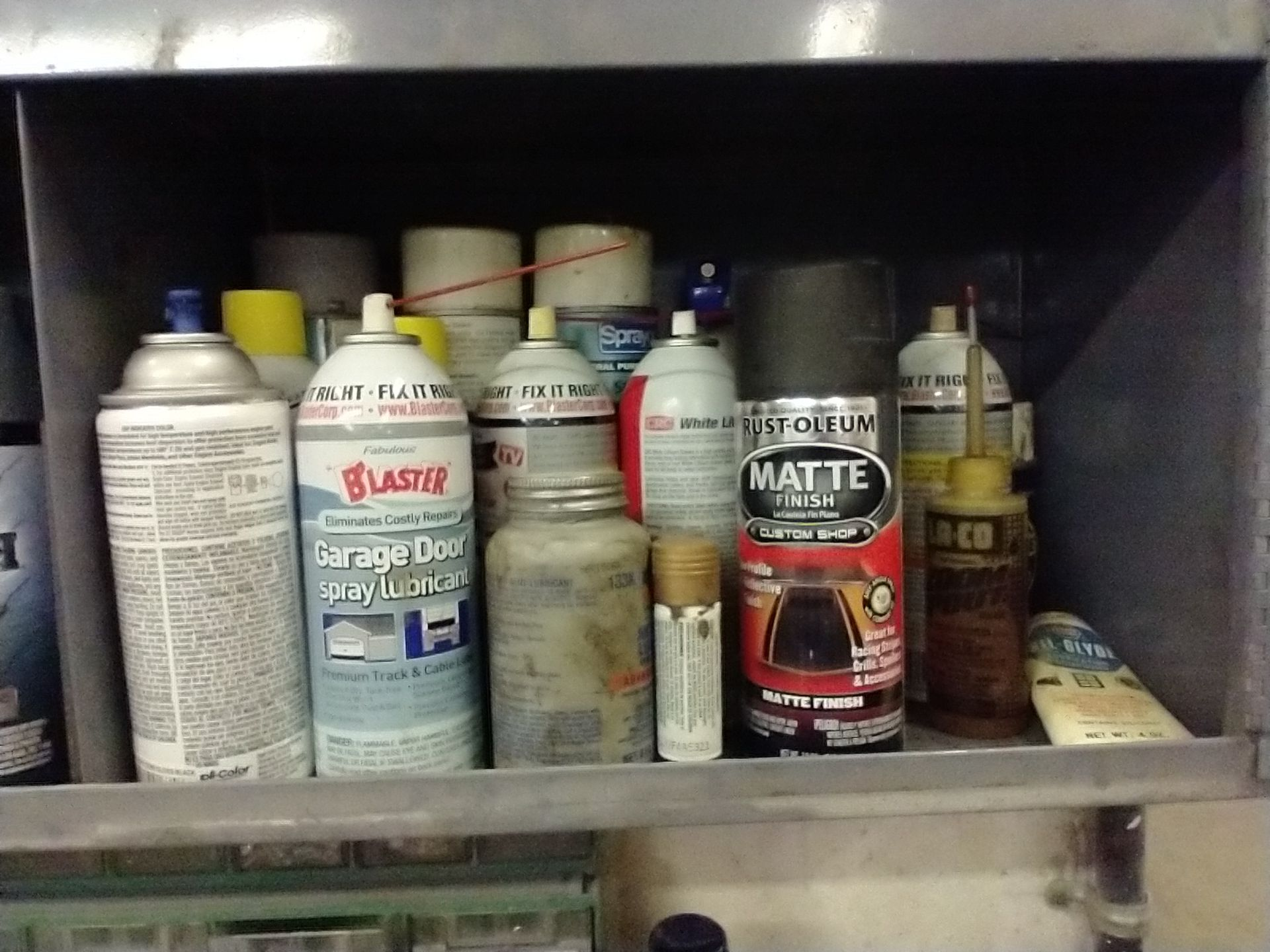 LOT OF SPRAY PAINT AND MISC IN CABINET - Image 4 of 5