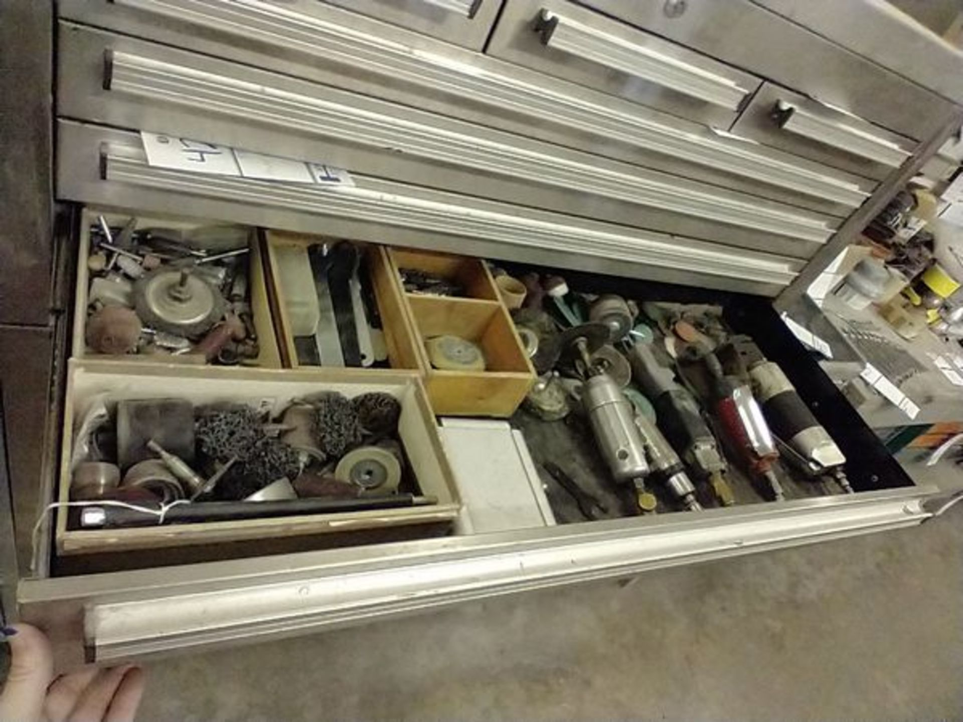 ASSORTED PNEUMATIC TOOLS WITH CONTENTS OF DRAWER