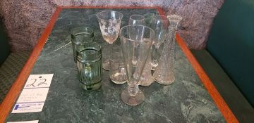 LOT OF MISC GLASSES AND VASES