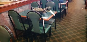 UPHOLSTERED METAL FRAME GREEN AND BLACK DINING CHAIRS