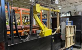 LINCOLN SYSTEM 55 WITH FANUC M710iC/20L TORCH CUTTING CELL WITH DUAL ROLL IN ROLL OUT TABLES