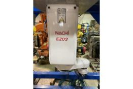 NACHI EZ03 INVERTED 4 AXIS SCARA ROBOT MOUNTED IN FABRICATED STAND WITH CONTROLLER