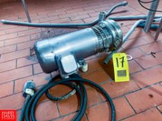 TriFlow 1 Hp. Centrifugal Pump, Serial# 160594-01, With S/S Clad Motor, And S/S Clamp Type Head